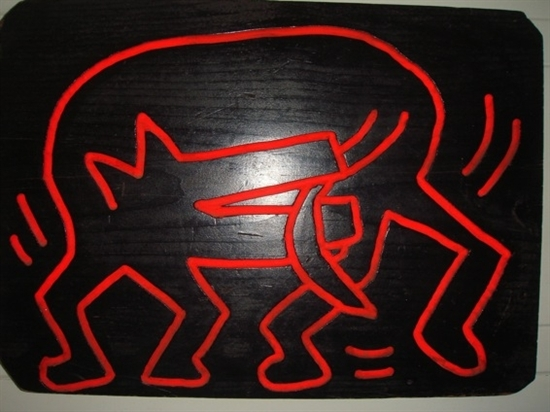 "Keith Haring ""Untitled (DOG) Oil on Wood"" 1983"