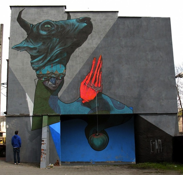 &quot;Praying sinner&quot; Katowice street art festival, Poland, 2010.