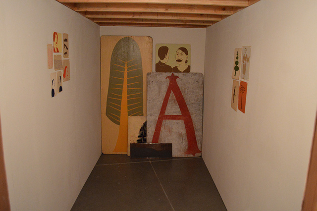 Paintings by Margaret Kilgallen inside a structure painted by McGee. Photo by Pat Falco