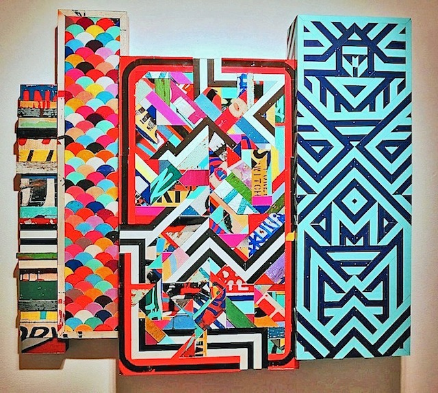Revok, 301 Petoskey, acrylic, enamel and found objects on panel