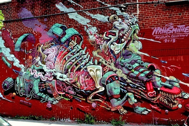 Nychos with Mexican artist Smithe at the Bushwick Collective