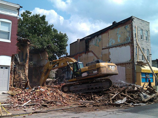 Demolition of 707 & 709 N. Patterson Park