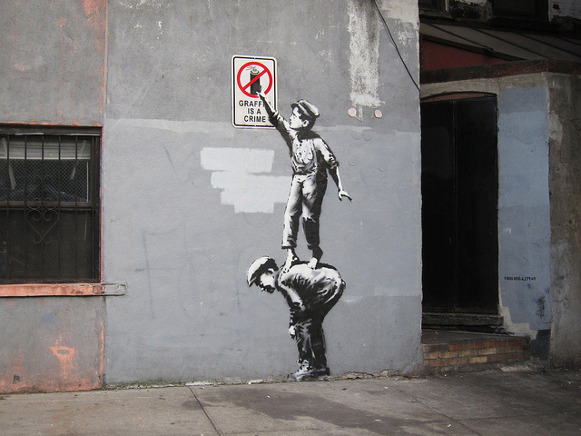 Banksy in NYC. Photo by carnagenyc.