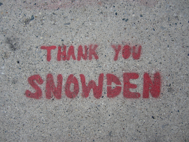 Edward Snowden stencil by unknown artist. Photo by Equalized Graffiti.