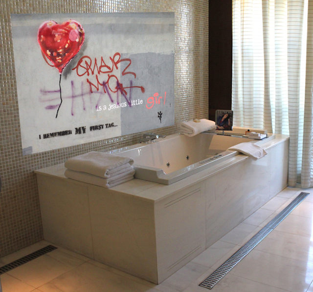 "Do you have a bathroom in need of some ""urban' decor? Look no further."