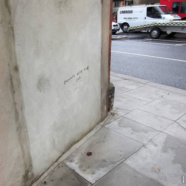 "The former site of Banksy's ""No Ball Games"" piece in London. Photo by Alan Stanton."