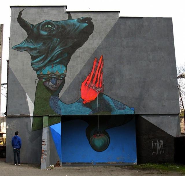 """Praying sinner"" Katowice street art festival, Poland, 2010."