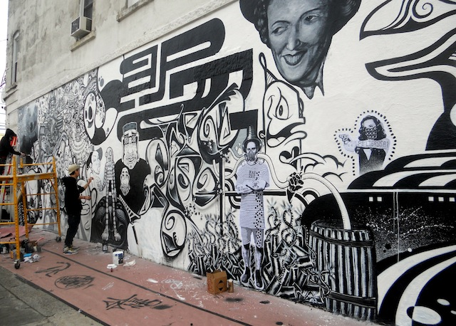 Artists at work in Bushwick; Gospel with white cap