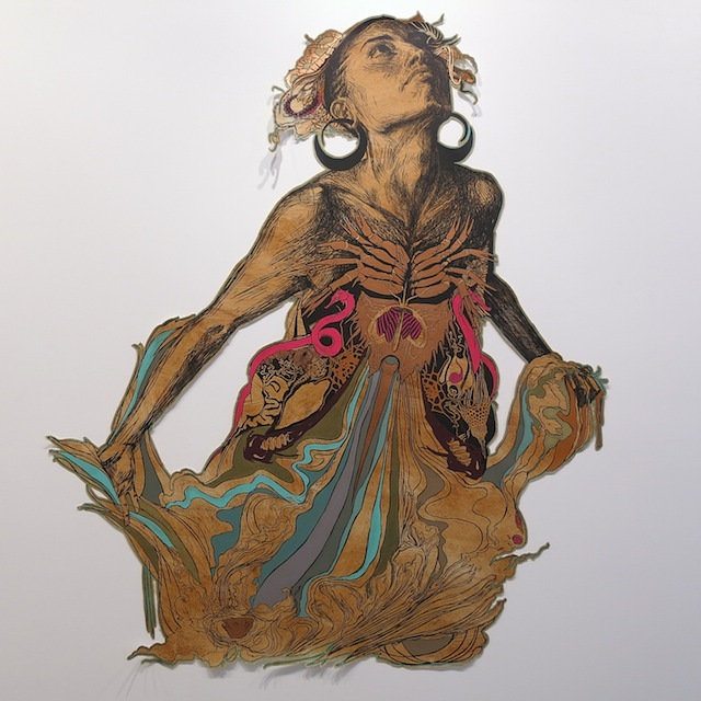 Swoon, Thalassa, screenprint on mylar with coffee stain and hand painting