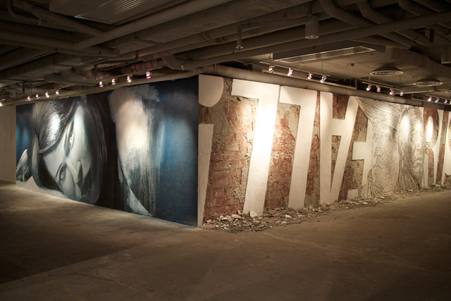Rone next to Cyrcl vs Vhils - Photo via The Opening Hours