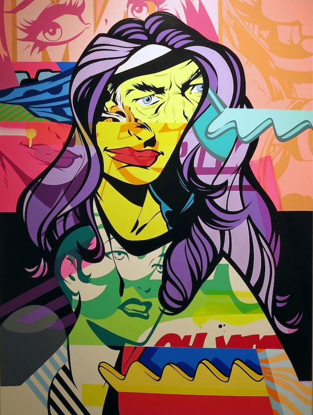 Pose, Fin 2, acrylic and spray paint on clayboard panel