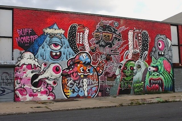 Nychos with Buff Monster, Tristan Eaton, Sheryo & the Yok at the Bushwick Collective