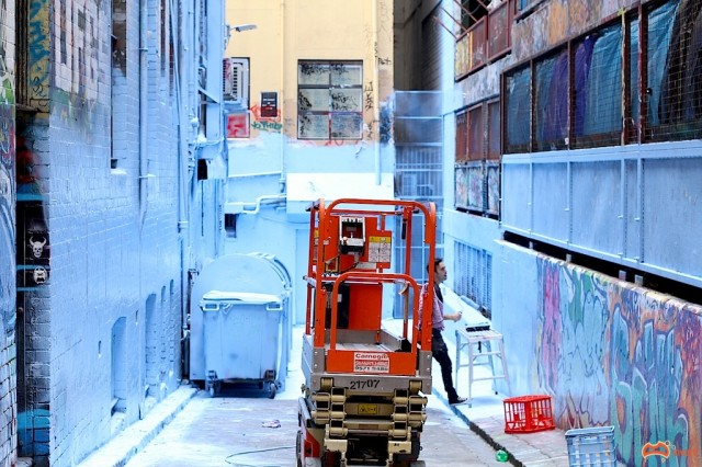 The Lane being painted - Photo by David Russell
