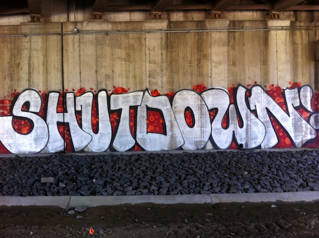 Yotes and SINUS outside of DC. The piece was painted at the start of the federal government shutdown. Photo by Yotes.