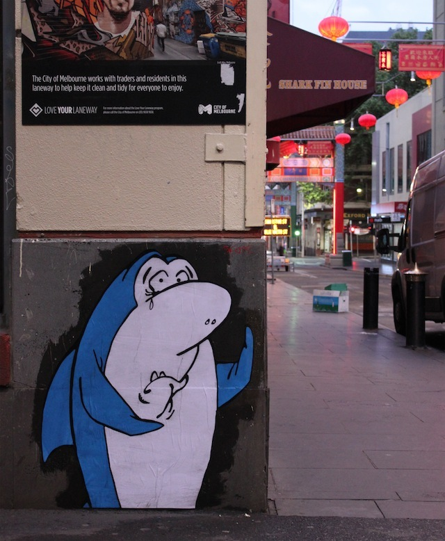 """""""So long, and thanks for all the fins"""" by Cel Out in Melbourne. Photo by Cel Out."""