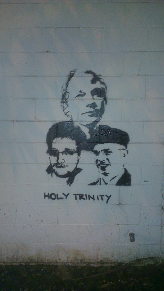 Julian Assange, Edward Snowden and Chelsea Manning by Camo in Sydney, Australia. Photo by Camo.