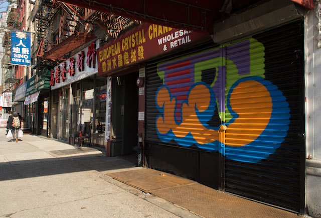 Ben Eine on the Bowery. Photo by Rey Rosa.