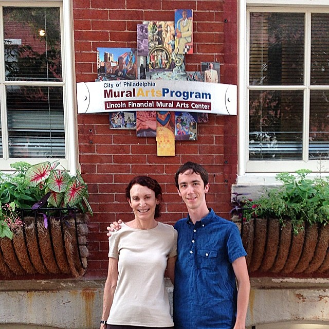 Jane Golden and I outside the offices of The City of Philadelphia Mural Arts Program