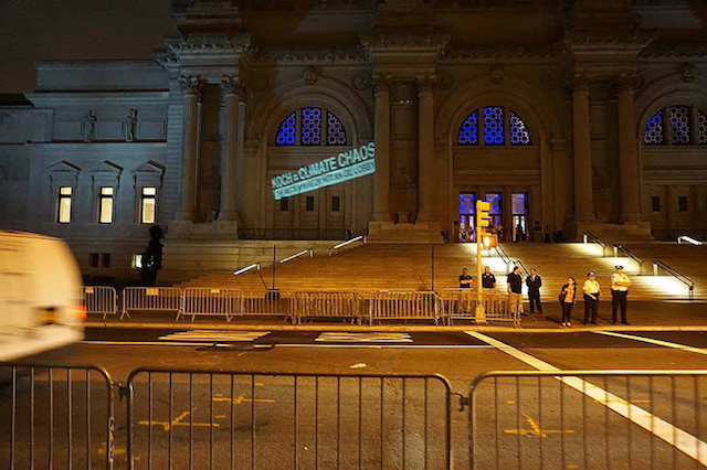 "An Occupy Museums protest action which results in three arrests for ""unlawfully posting advertisements."" Photo courtesy of Occupy Museums."