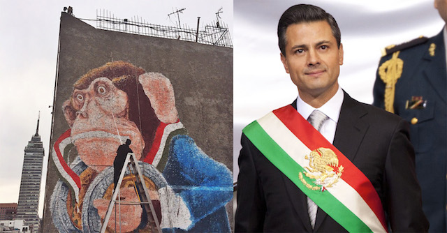 Ericailcane's original mural in progress, photo from FIFTY24MX, and President of Mexico Enrique Peña Nieto wearing the Mexican Presidential sash.