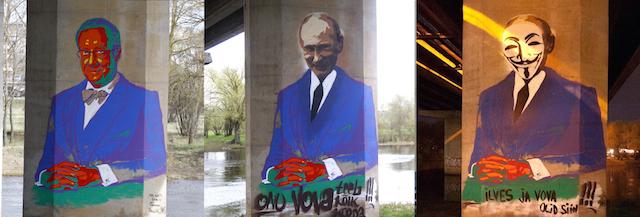 A dialogue between street artists on the bridge pillars. Photos by suur jalutuskaik.