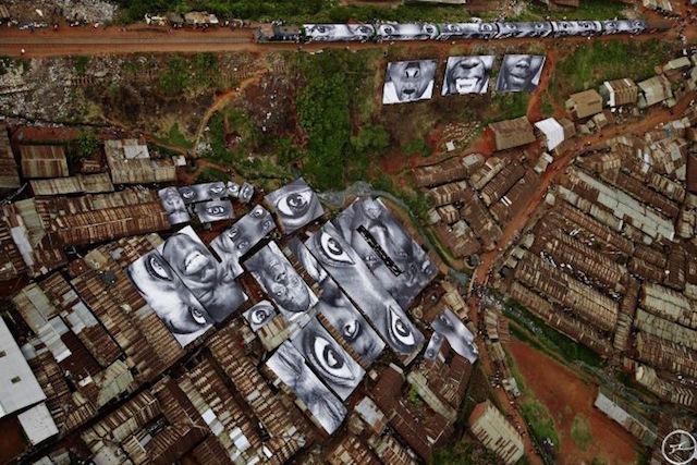 28 Millimeters, Women Are Heroes. Action in Kibera Slum, General View, Kenya, 2009. Photo by JR.