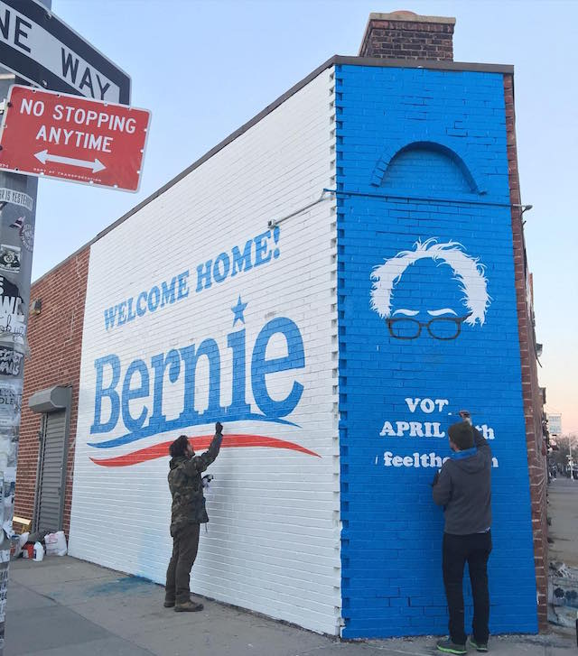 Nick Kuszyk's Bernie Sanders mural in Greenpoint. Photo courtesy of Nick Kuszyk.