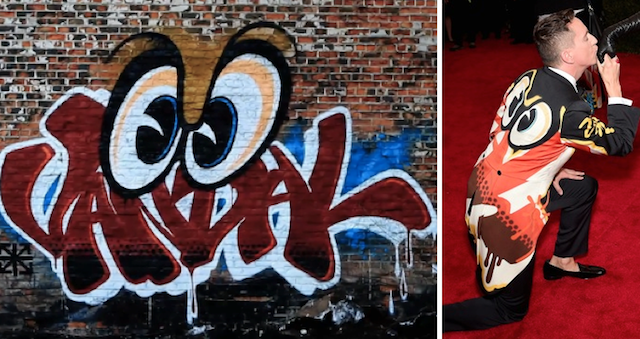 Rime's artwork (left) and a suit by Moschino (right)